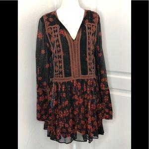 Free people floral long sleeve dress